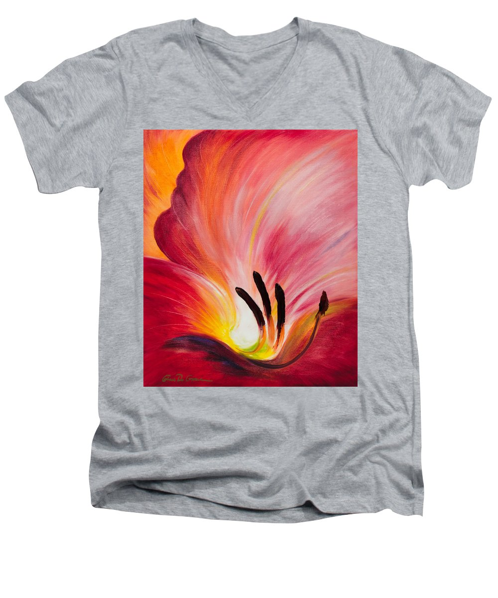 Red Men's V-Neck T-Shirt featuring the painting From The Heart Of A Flower Red I by Gina De Gorna