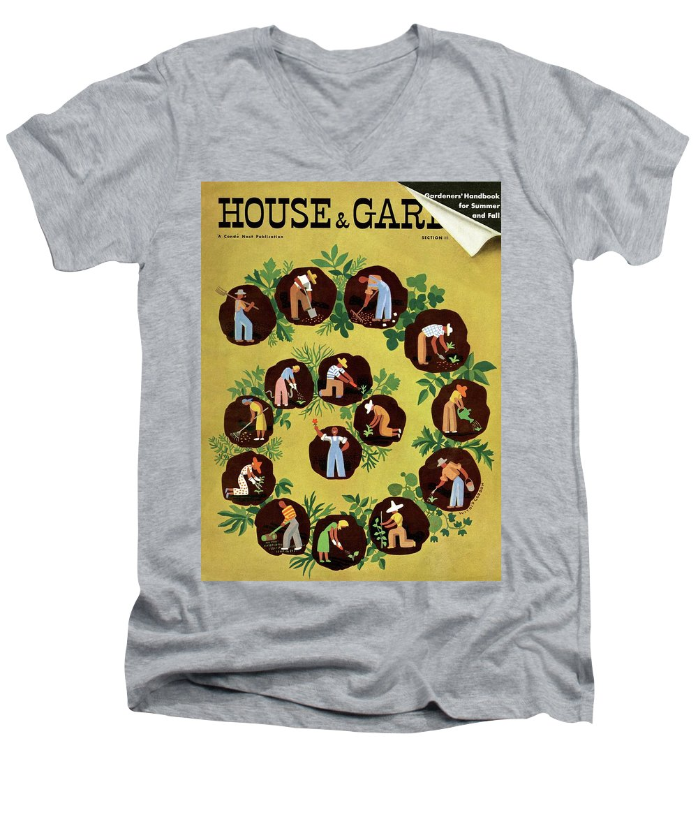 House And Garden Men's V-Neck T-Shirt featuring the photograph Gardeners And Farmers by Witold Gordon