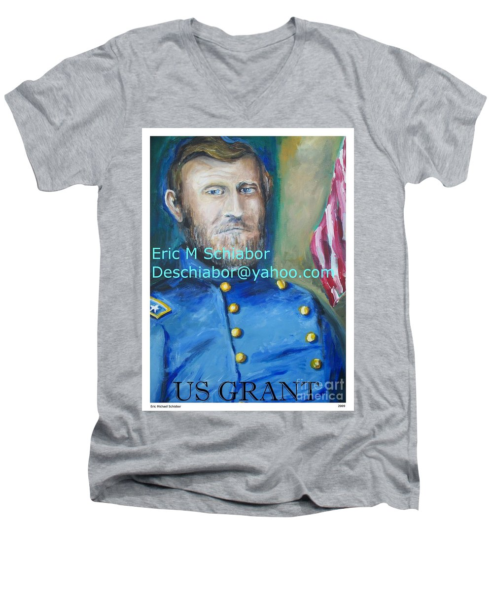 Grant Artwork Men's V-Neck T-Shirt featuring the painting General Us Grant by Eric Schiabor
