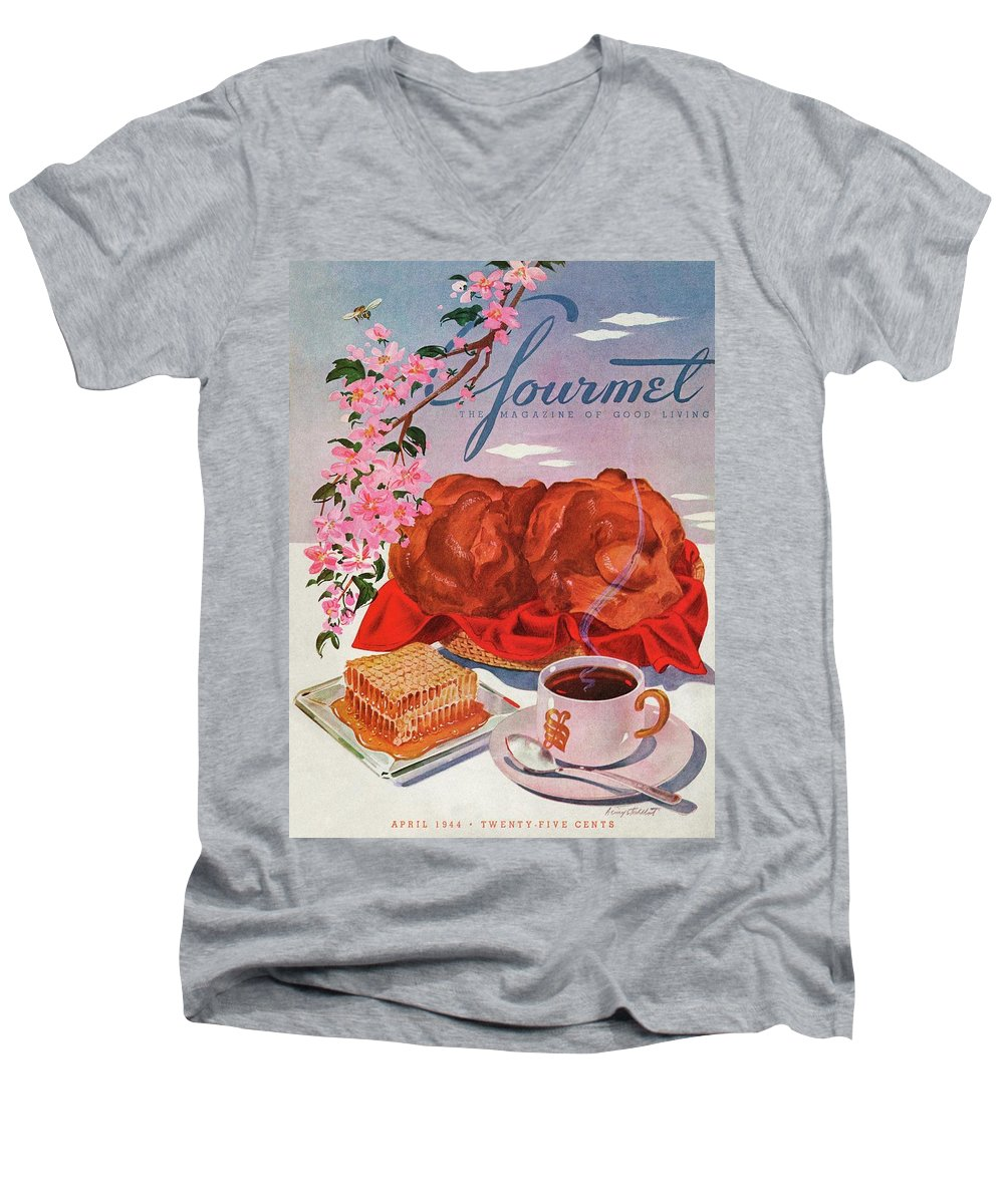 Food Men's V-Neck T-Shirt featuring the photograph Gourmet Cover Illustration Of A Basket Of Popovers by Henry Stahlhut