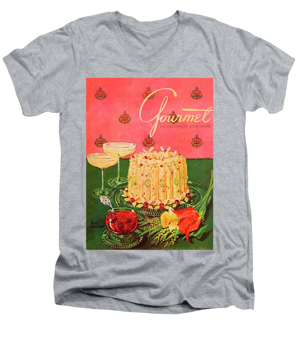 Illustration Men's V-Neck T-Shirt featuring the photograph Gourmet Cover Illustration Of A Molded Rice by Henry Stahlhut