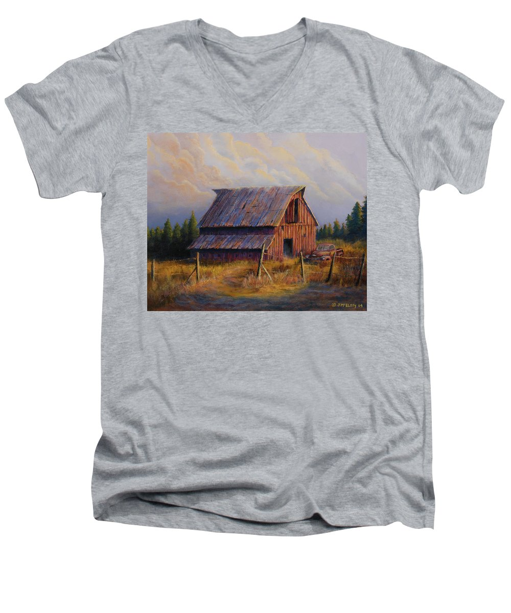 Barn Men's V-Neck T-Shirt featuring the painting Grandpas Truck by Jerry McElroy