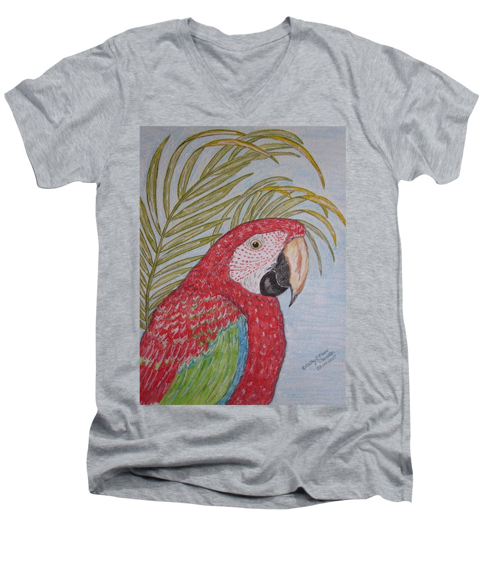 Green Wing Macaw Men's V-Neck T-Shirt featuring the painting Green Winged Macaw by Kathy Marrs Chandler