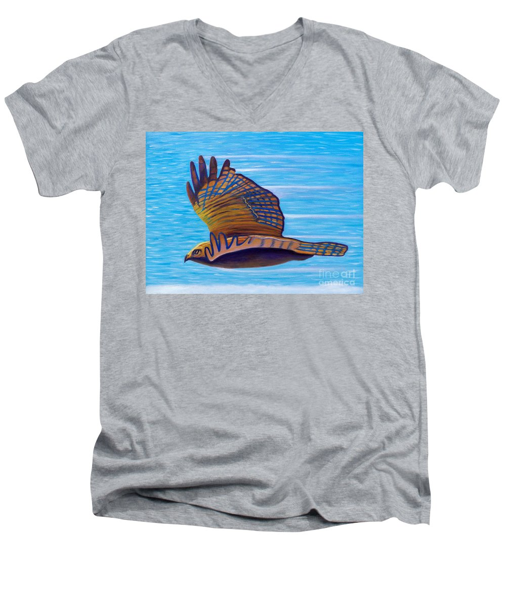 Hawk Men's V-Neck T-Shirt featuring the painting Hawk Speed by Brian Commerford
