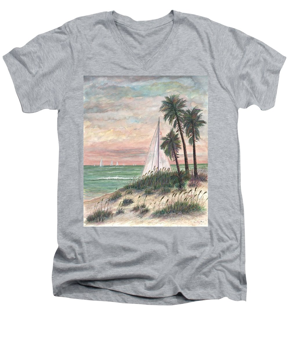 Sailboats; Palm Trees; Ocean; Beach; Sunset Men's V-Neck T-Shirt featuring the painting Hideaway by Ben Kiger