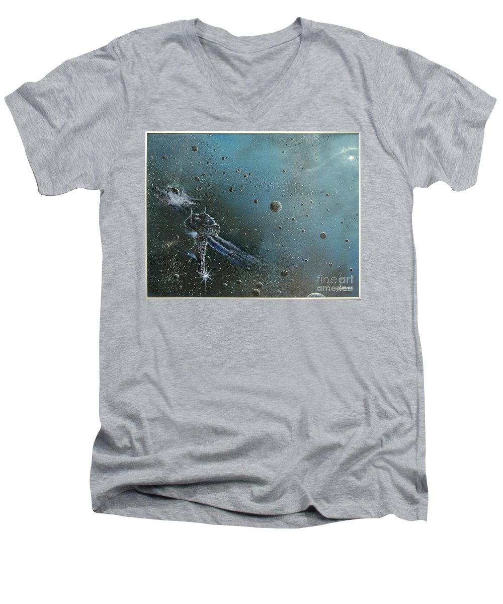 Astro Men's V-Neck T-Shirt featuring the painting Hiding In The Field by Murphy Elliott