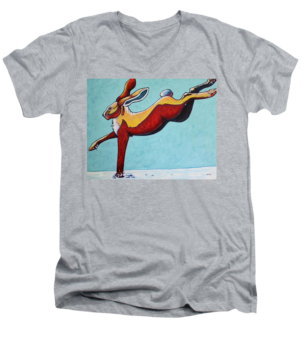 Wildlife Men's V-Neck T-Shirt featuring the painting High Tailing It - Jackrabbit by Joe Triano