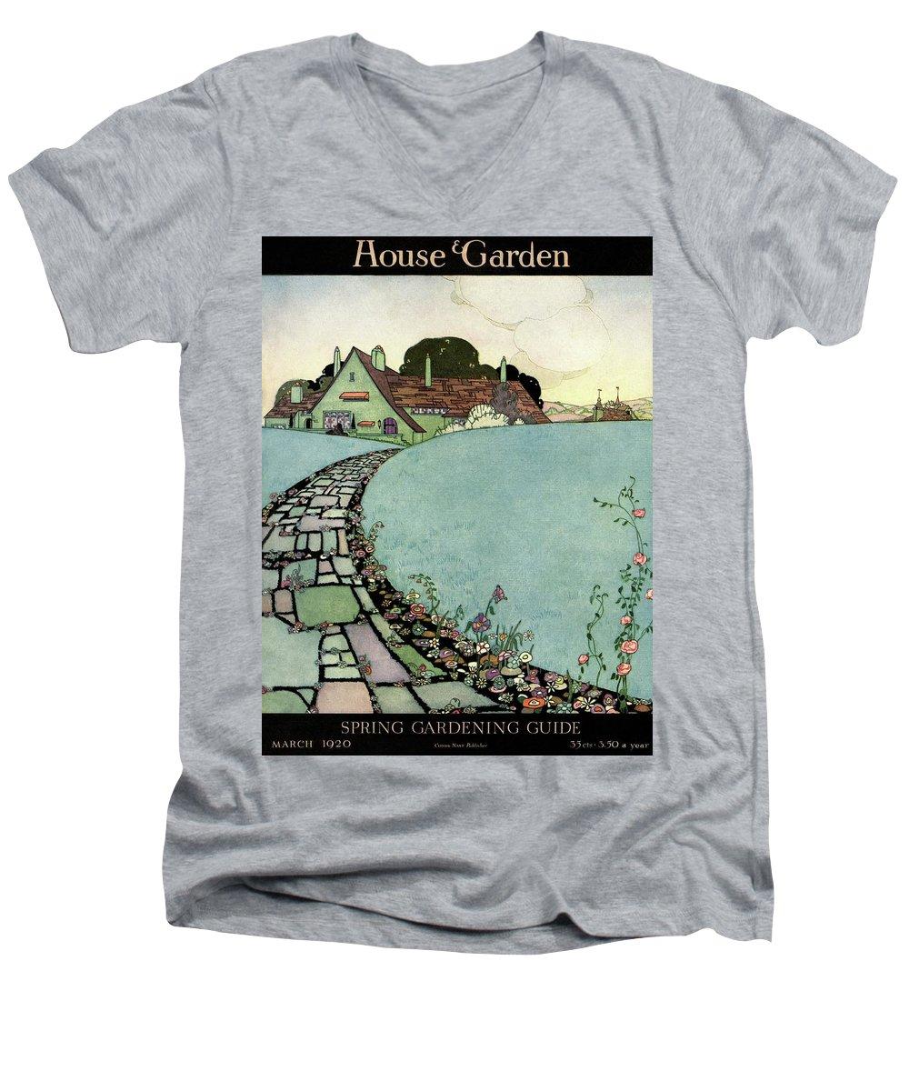 House And Garden Men's V-Neck T-Shirt featuring the photograph House And Garden Spring Garden Guide by Harry Richardson