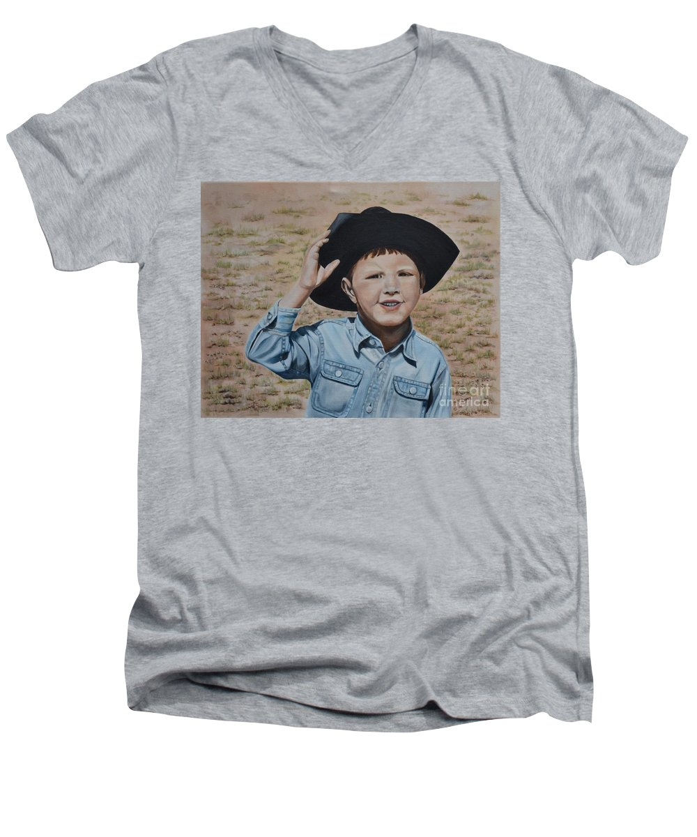 Usa Men's V-Neck T-Shirt featuring the painting Howdy Ma'am by Mary Rogers