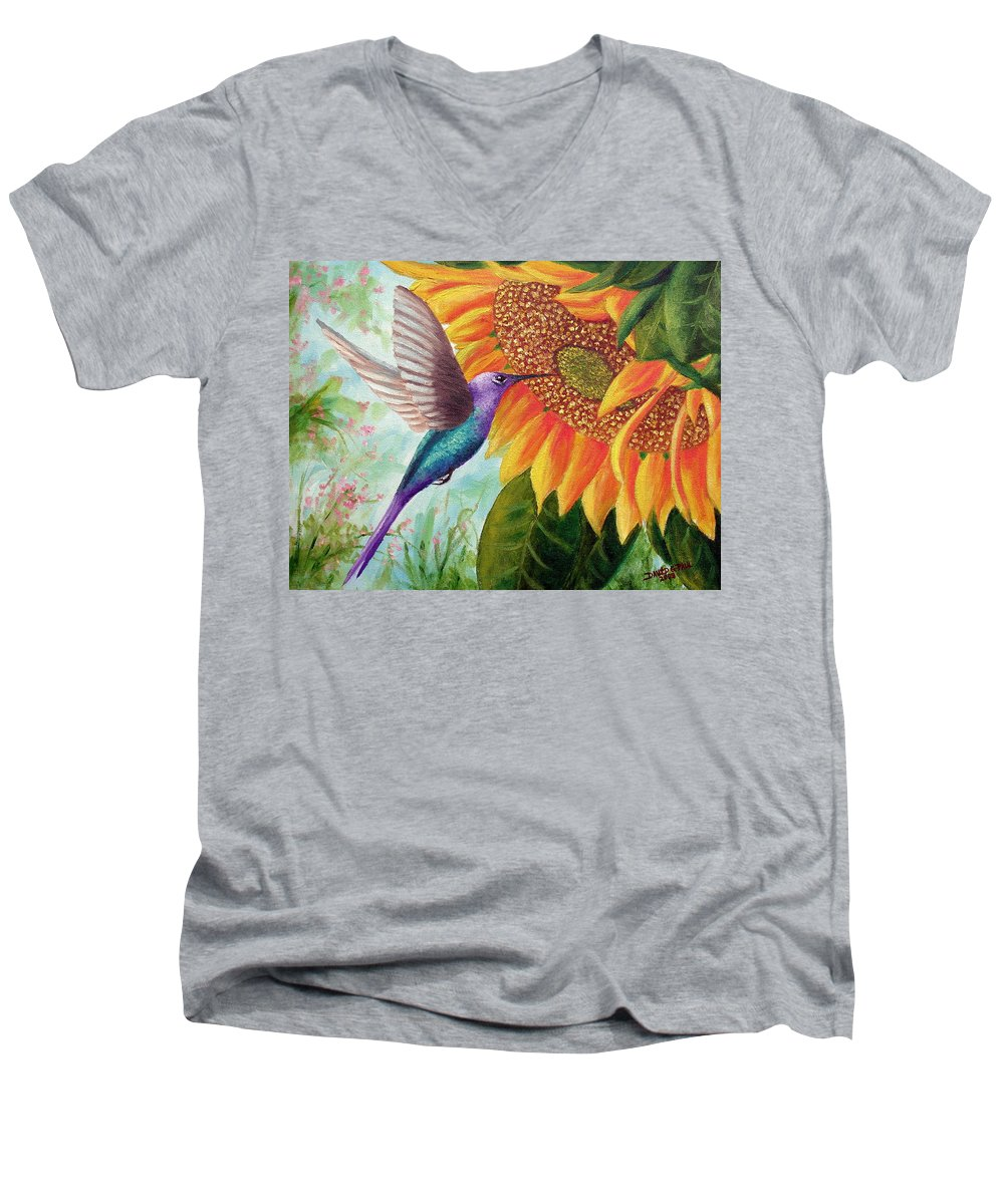 Hummingbird Men's V-Neck T-Shirt featuring the painting Humming For Nectar by David G Paul