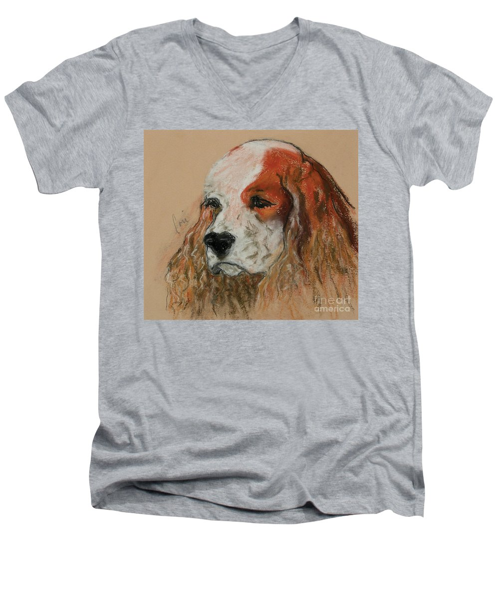Dog Men's V-Neck T-Shirt featuring the pastel Idle Thoughts by Cori Solomon