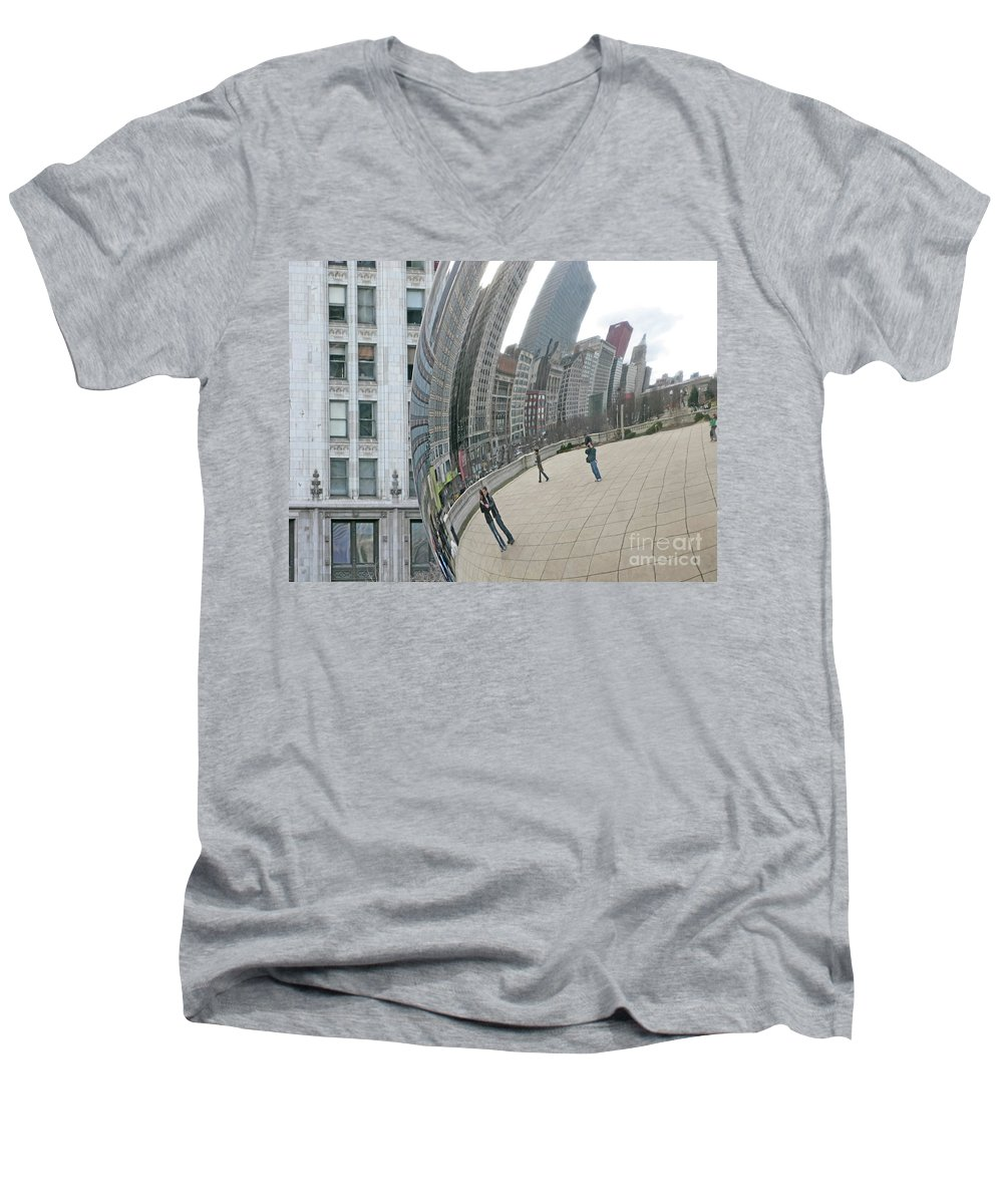 Chicago Men's V-Neck T-Shirt featuring the photograph Imaging Chicago by Ann Horn