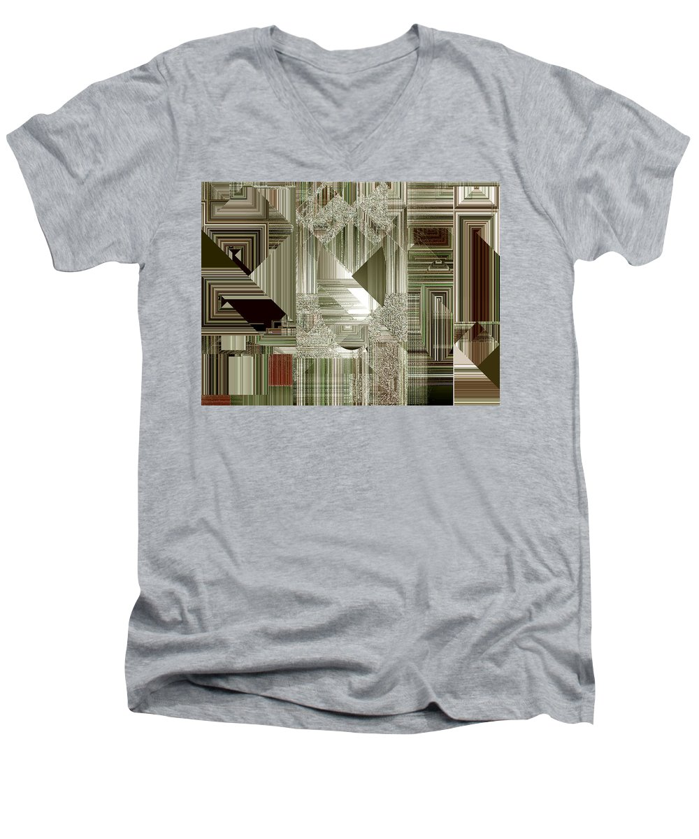 Abstract Men's V-Neck T-Shirt featuring the painting Indecision I by RC deWinter