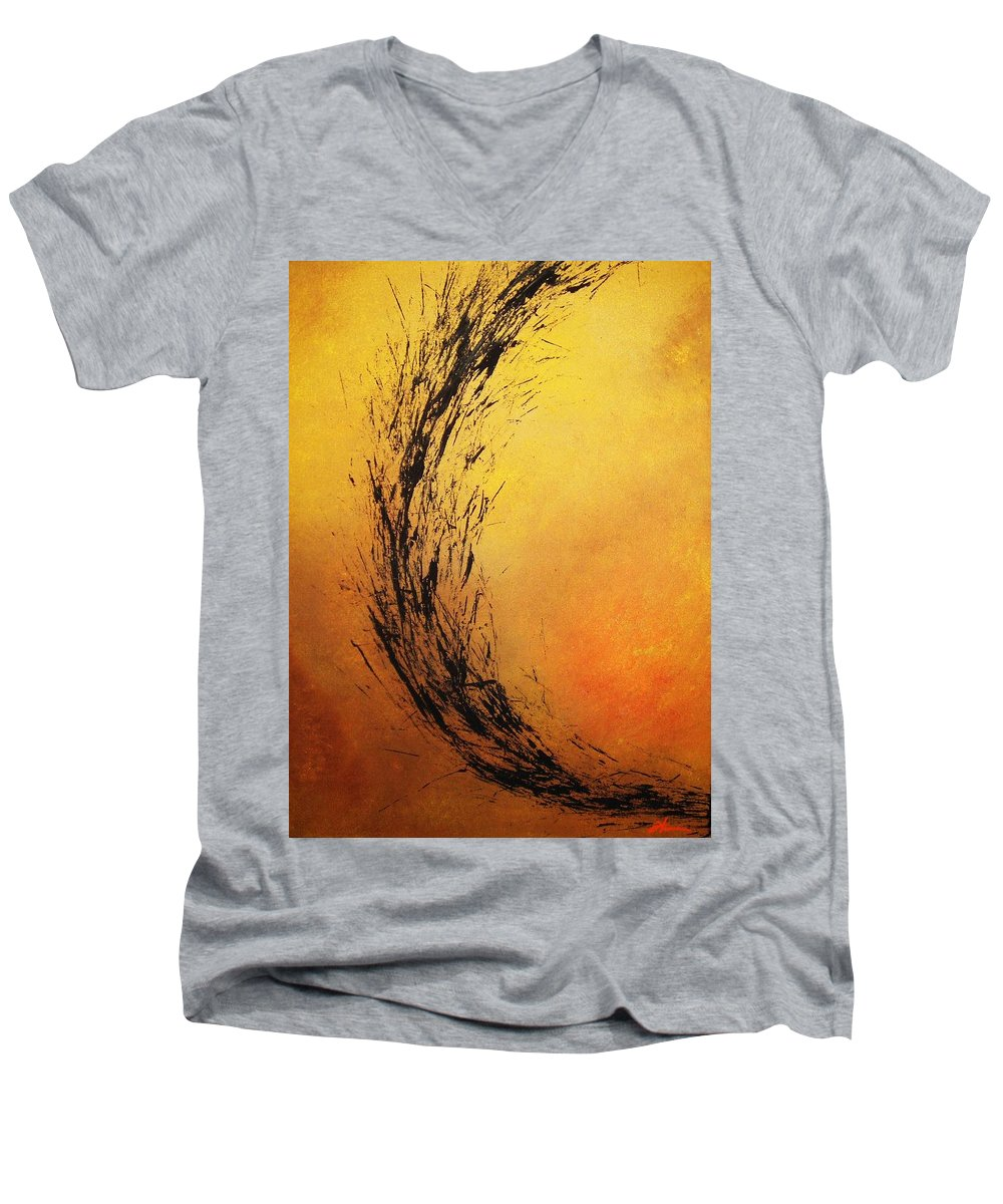 Abstract Men's V-Neck T-Shirt featuring the painting Instinct by Todd Hoover