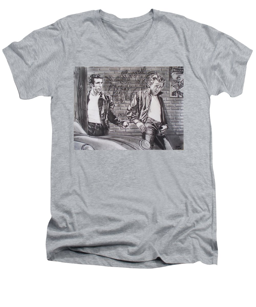 Americana Men's V-Neck T-Shirt featuring the drawing James Dean Meets The Fonz by Sean Connolly