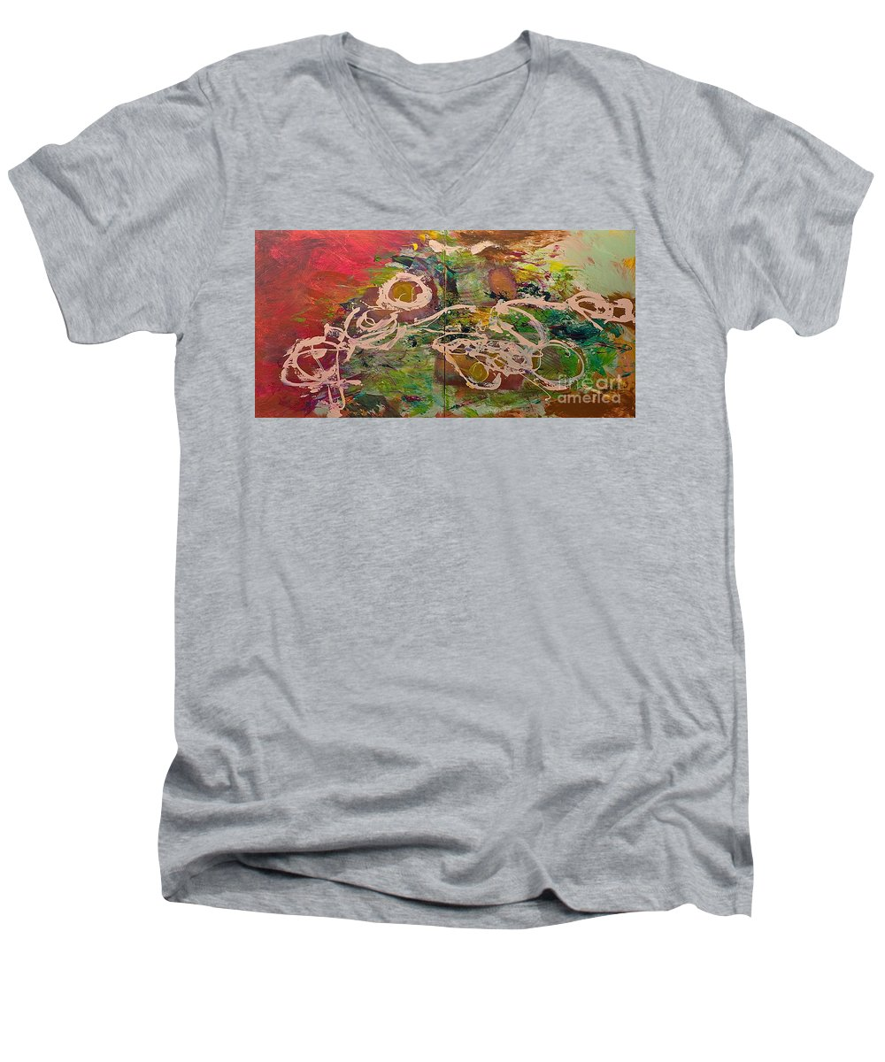 Landscape Men's V-Neck T-Shirt featuring the painting Journey Forth by Allan P Friedlander