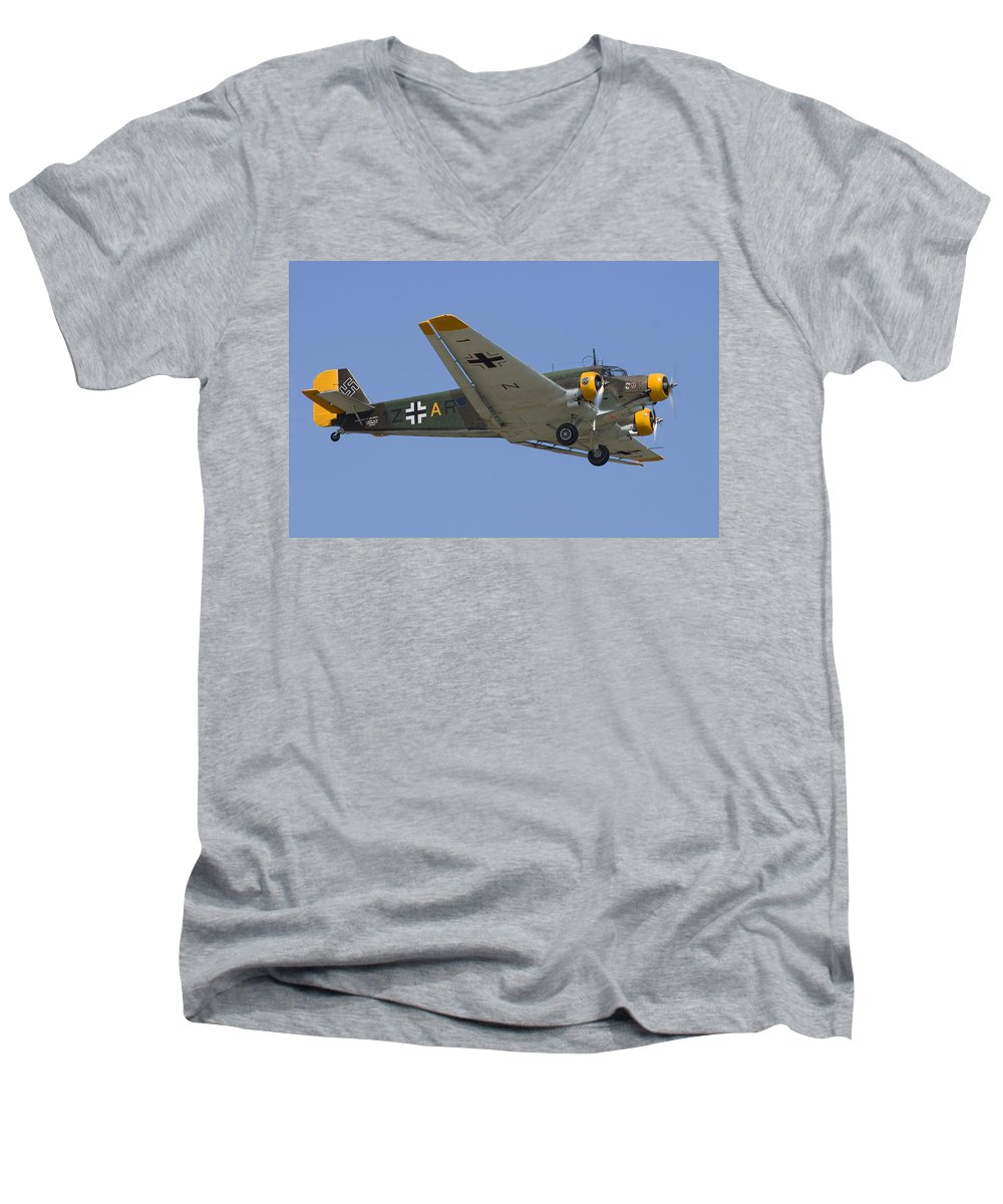 3scape Men's V-Neck T-Shirt featuring the photograph Junkers Ju-52 by Adam Romanowicz