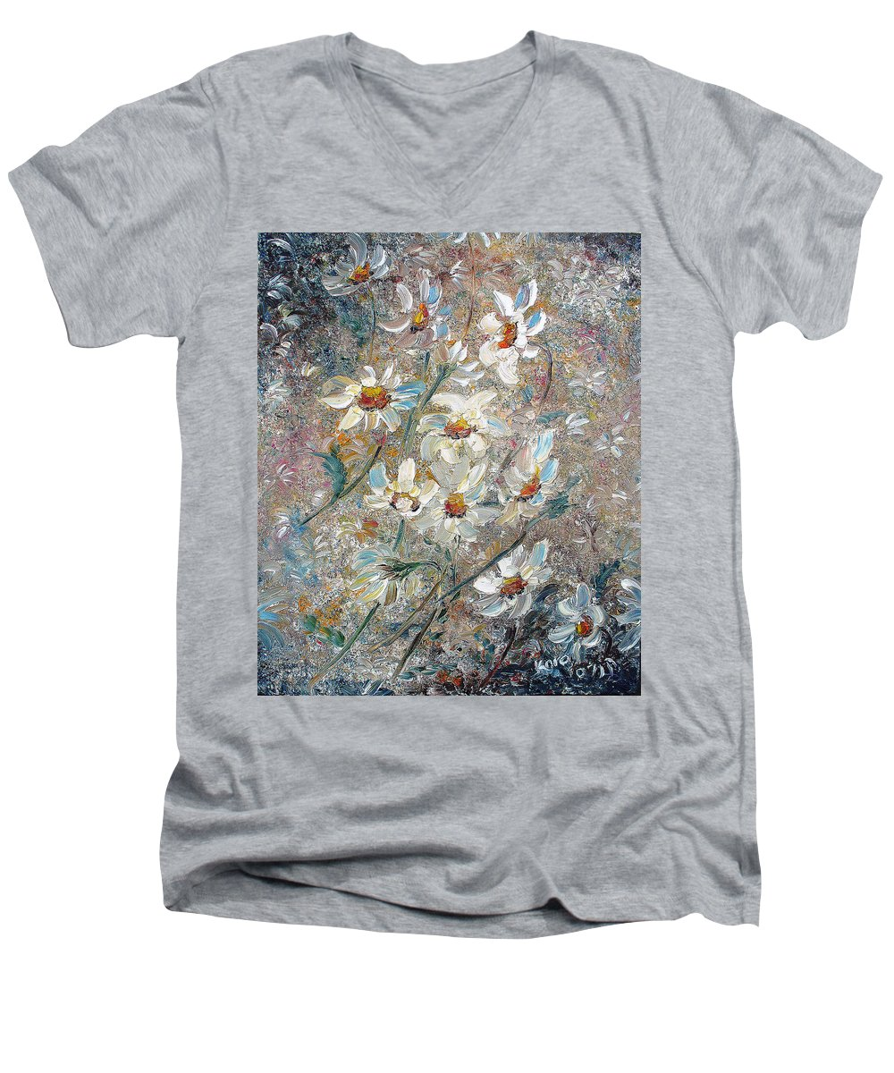 Daisies Painting Abstract Flower Painting Botanical Painting Bloom Greeting Card Painting Men's V-Neck T-Shirt featuring the painting Just Dasies by Karin Dawn Kelshall- Best