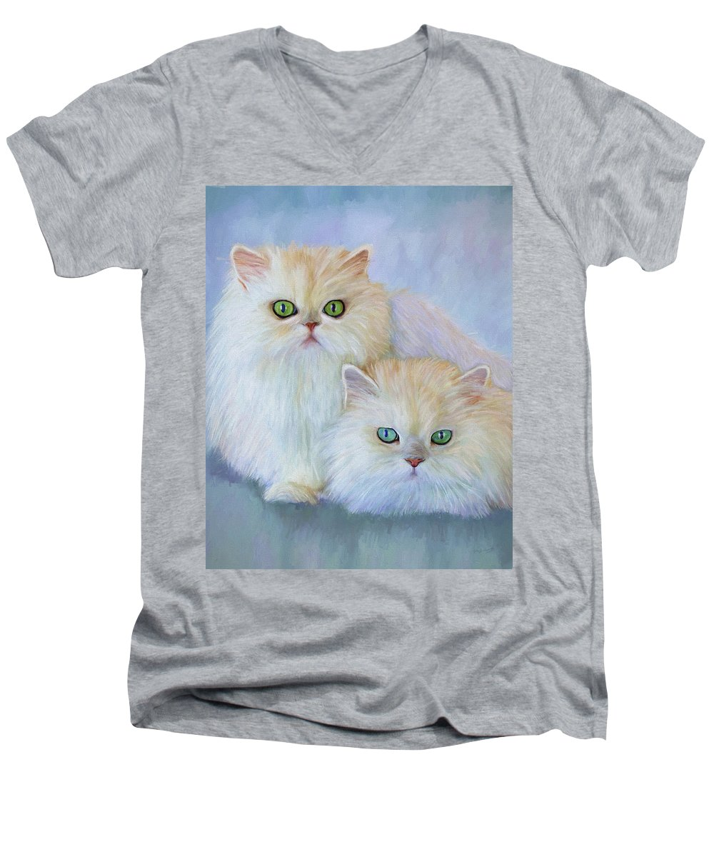Cat Men's V-Neck T-Shirt featuring the painting Katrina And Bjorn by David Wagner