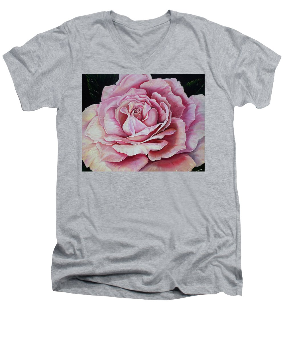 Rose Painting Pink Rose Painting  Floral Painting Flower Painting Botanical Painting Greeting Card Painting Men's V-Neck T-Shirt featuring the painting La Bella Rosa by Karin Dawn Kelshall- Best