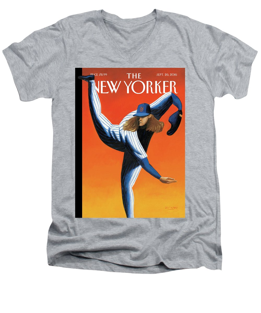 Mets Men's V-Neck T-Shirt featuring the painting Late Innings by Mark Ulriksen