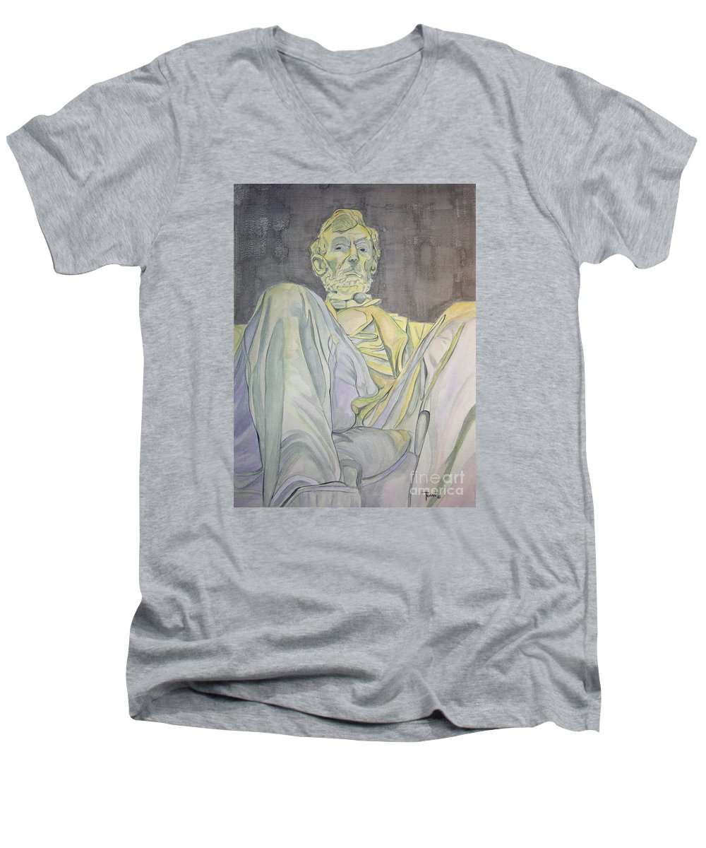 Presidents Men's V-Neck T-Shirt featuring the painting Lincoln by Regan J Smith