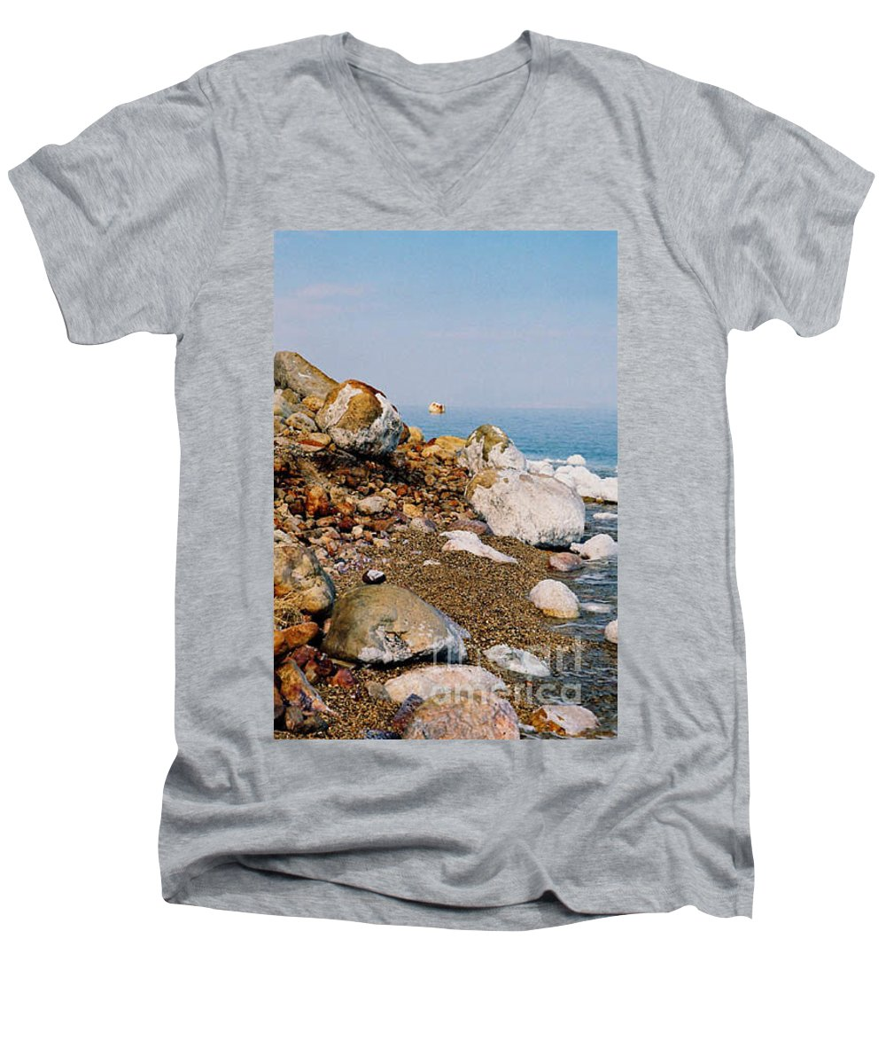 Dead Sea Men's V-Neck T-Shirt featuring the photograph Lot's Wife by Kathy McClure