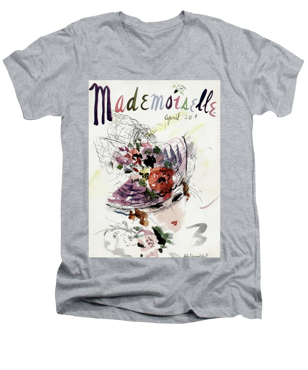 Fashion Men's V-Neck T-Shirt featuring the photograph Mademoiselle Cover Featuring An Illustration by Helen Jameson Hall
