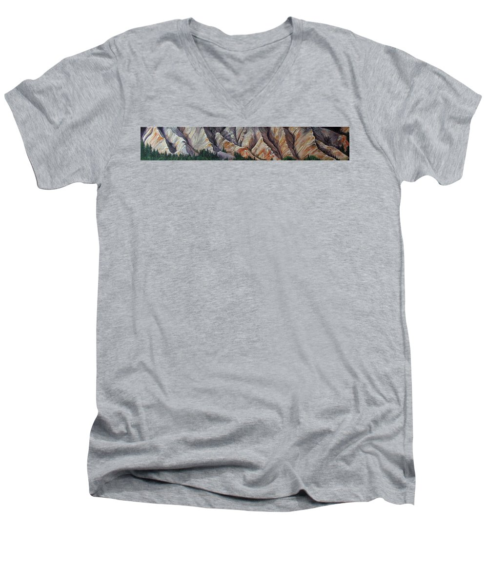 Mountains Men's V-Neck T-Shirt featuring the painting Marble Ridge by Elaine Booth-Kallweit