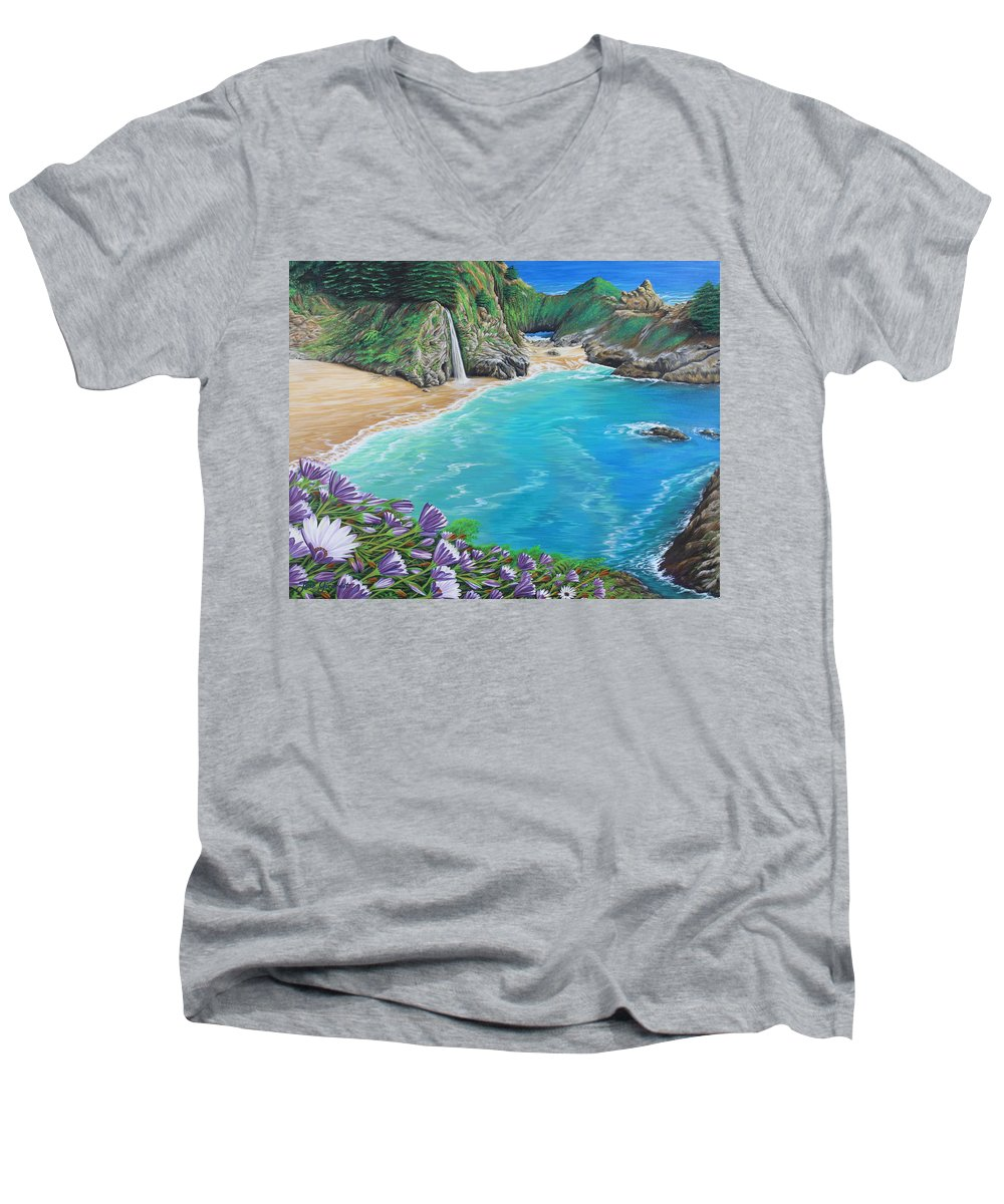 Beach Men's V-Neck T-Shirt featuring the painting Mcway Falls by Jane Girardot