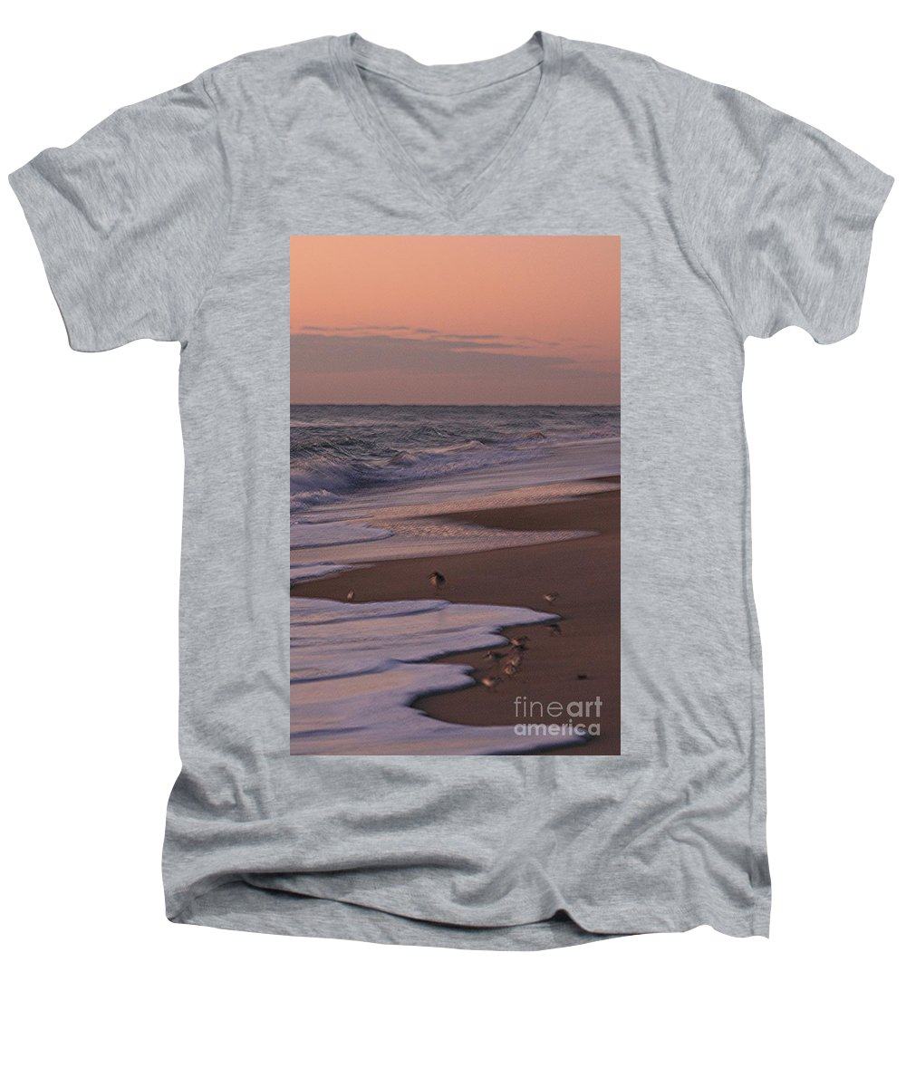Beach Men's V-Neck T-Shirt featuring the photograph Morning Birds At The Beach by Nadine Rippelmeyer