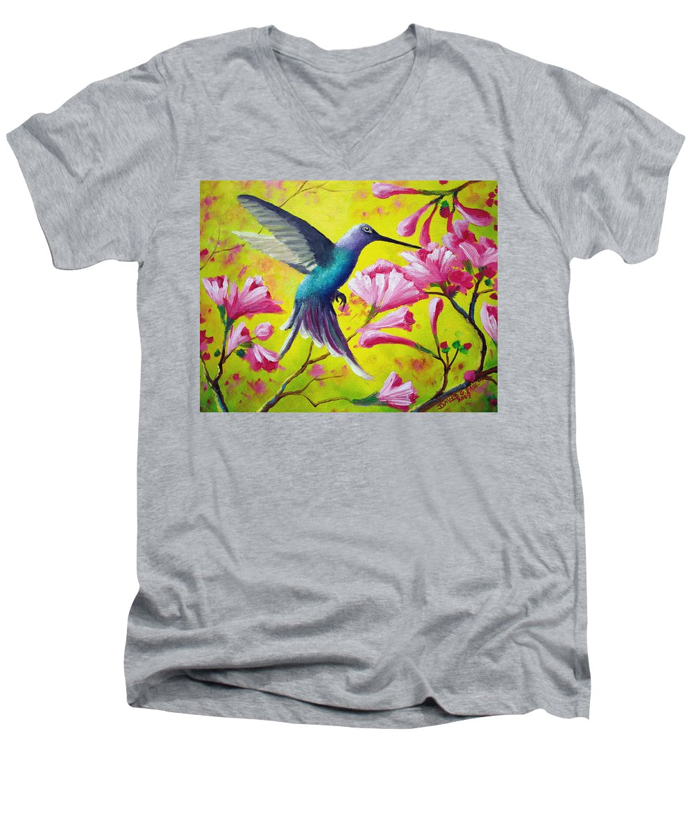 Hummingbird Men's V-Neck T-Shirt featuring the painting Morning Sweets by David G Paul