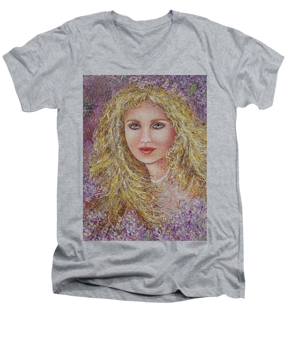 Portrait Men's V-Neck T-Shirt featuring the painting Natalie In Lilacs by Natalie Holland