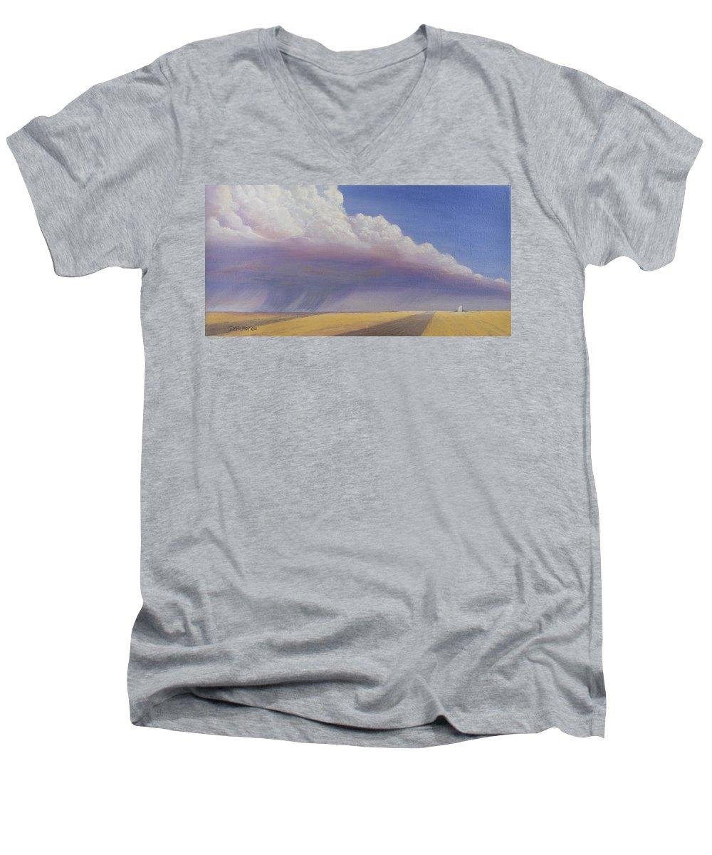 Landscape Men's V-Neck T-Shirt featuring the painting Nebraska Vista by Jerry McElroy