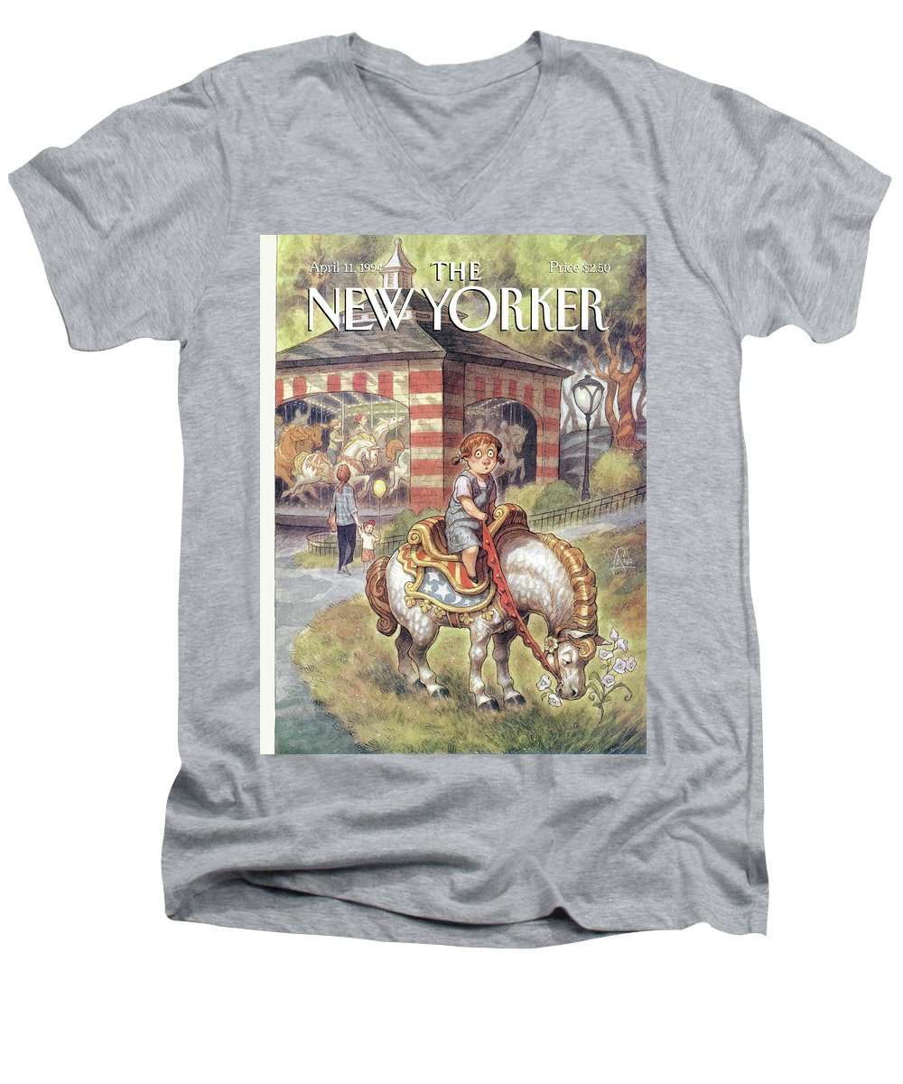 Stop And Smell The Flowers Men's V-Neck T-Shirt featuring the painting New Yorker April 11th, 1994 by Peter de Seve