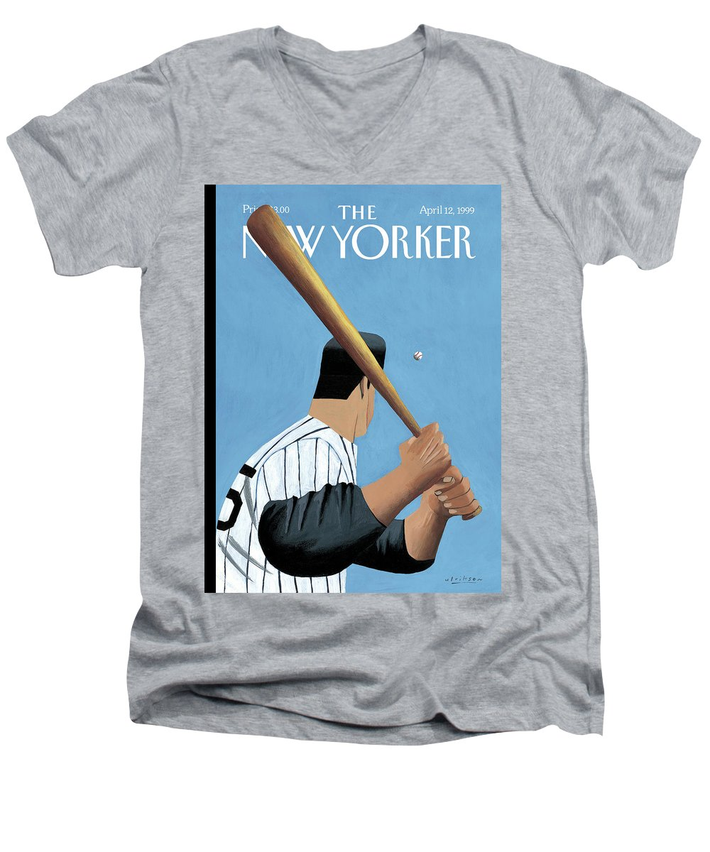 Opening Day Men's V-Neck T-Shirt featuring the painting New Yorker April 12th, 1999 by Mark Ulriksen