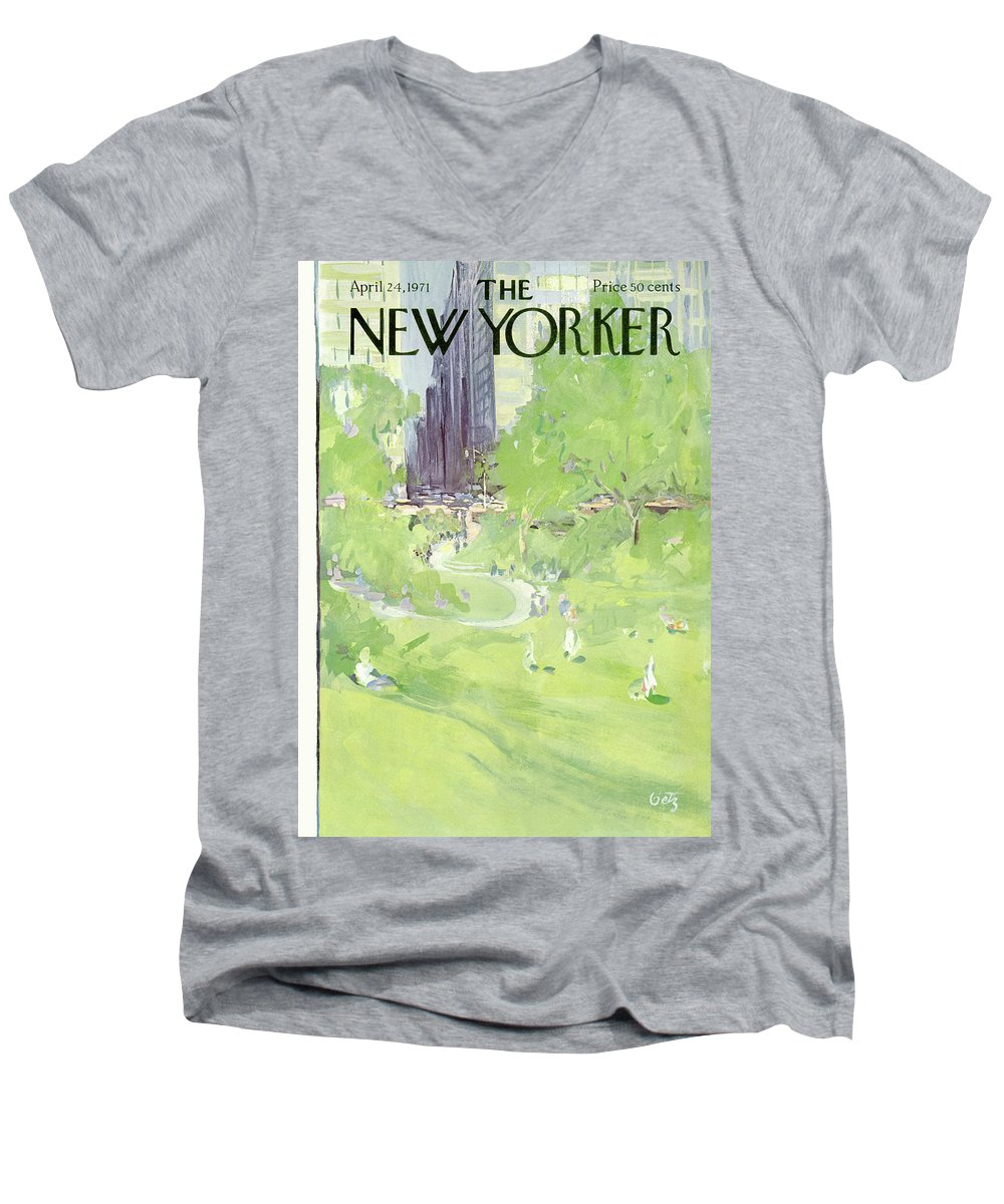 Urban Men's V-Neck T-Shirt featuring the painting New Yorker April 24th, 1971 by Arthur Getz