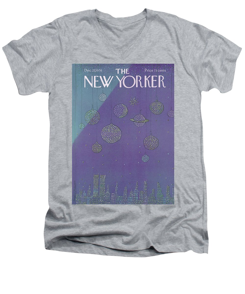 Planets Men's V-Neck T-Shirt featuring the painting New Yorker December 27th, 1976 by Eugene Mihaesco