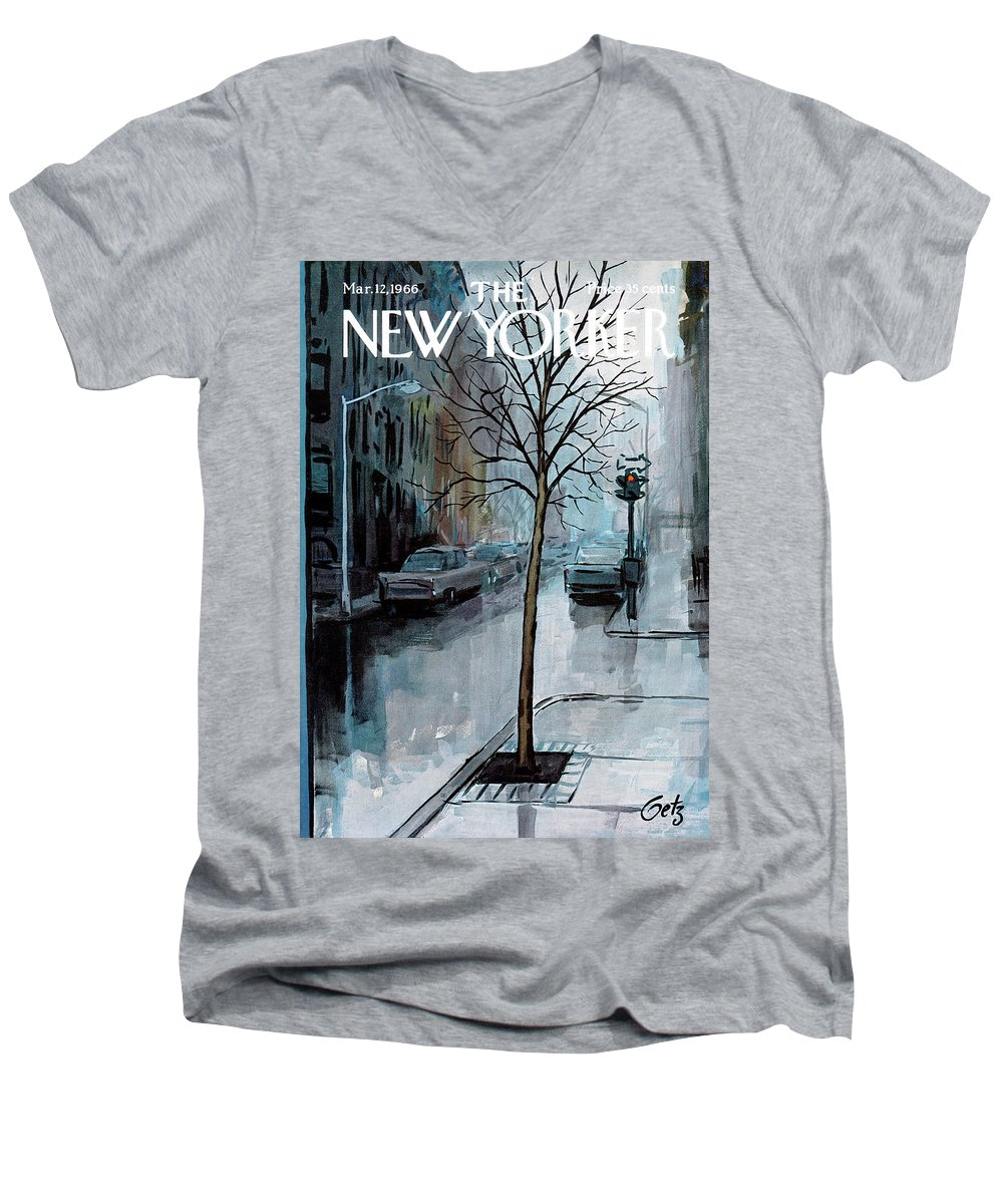 Rain Men's V-Neck T-Shirt featuring the painting New Yorker March 12th, 1966 by Arthur Getz