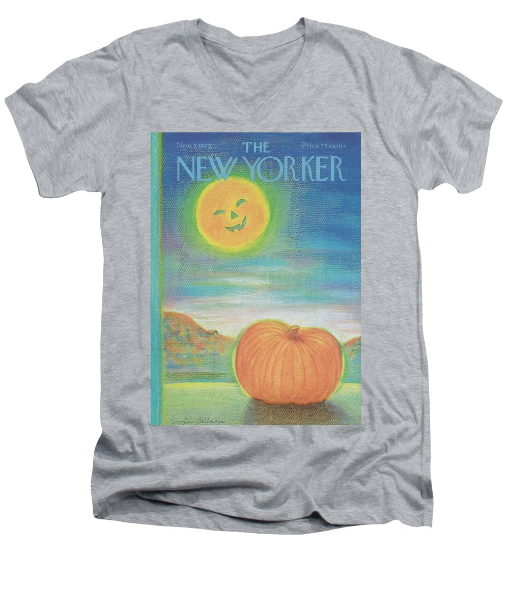 Halloween Men's V-Neck T-Shirt featuring the painting New Yorker November 3rd, 1975 by Eugene Mihaesco