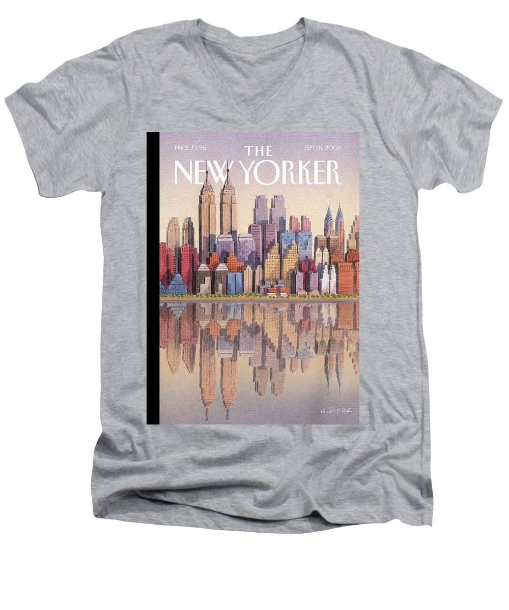 Twin Towers Men's V-Neck T-Shirt featuring the painting Twin Towers by Gurbuz Dogan Eksioglu