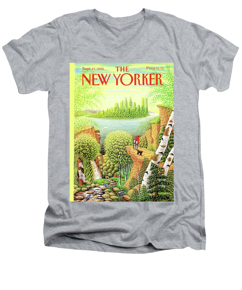 (a Man And His Dog Hike Through A Vast Landscape Of Woods Men's V-Neck T-Shirt featuring the painting Green New York by Bob Knox
