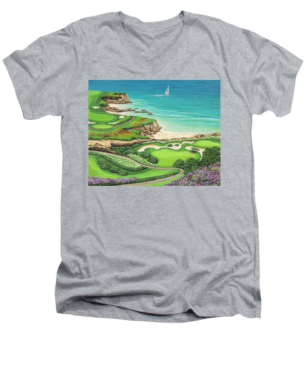 Ocean Men's V-Neck T-Shirt featuring the painting Newport Coast by Jane Girardot