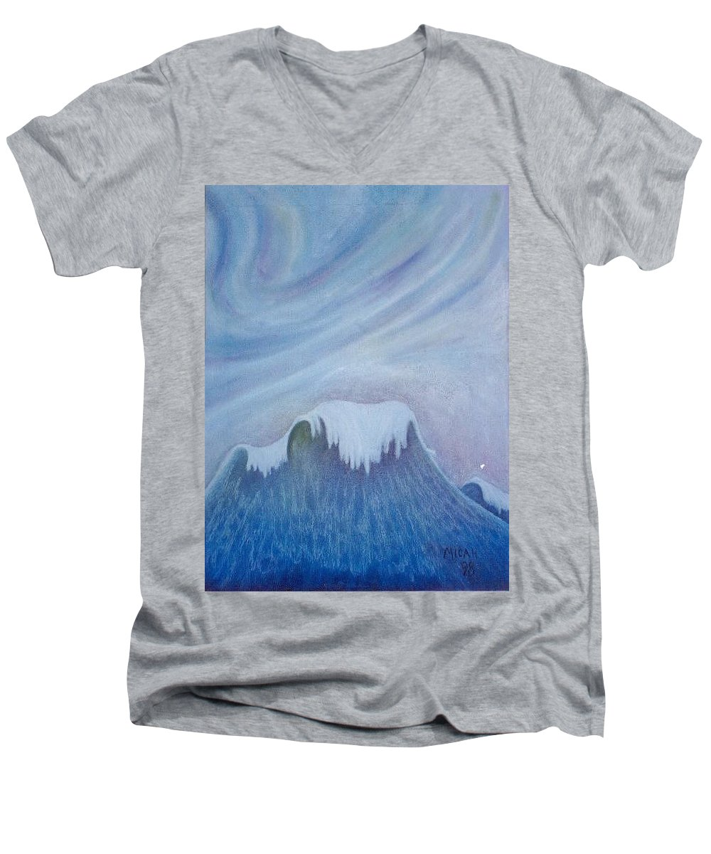 Ocean Men's V-Neck T-Shirt featuring the painting Ocean Wave by Micah Guenther