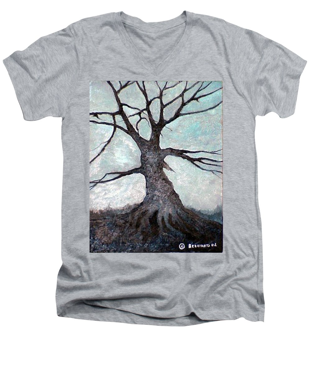 Landscape Men's V-Neck T-Shirt featuring the painting Old Tree by Sergey Bezhinets