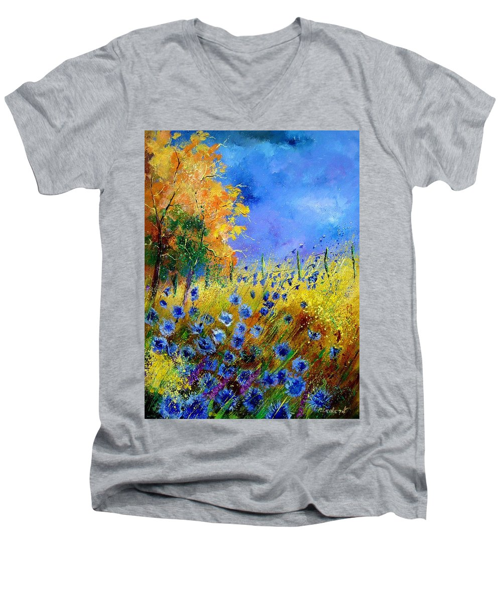 Poppies Men's V-Neck T-Shirt featuring the painting Orange Tree And Blue Cornflowers by Pol Ledent