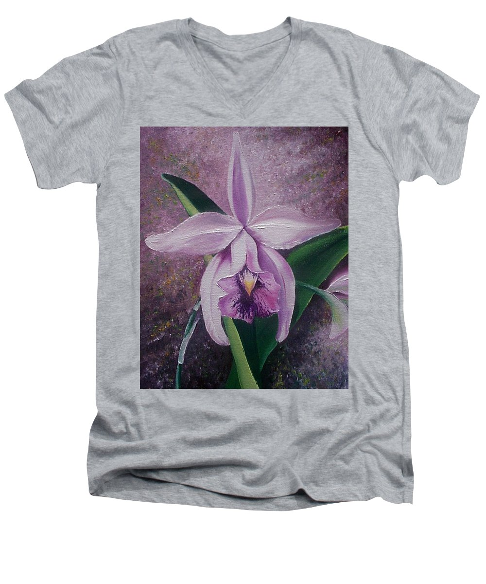 Orchid Purple Floral Botanical Men's V-Neck T-Shirt featuring the painting Orchid Lalia by Karin Dawn Kelshall- Best