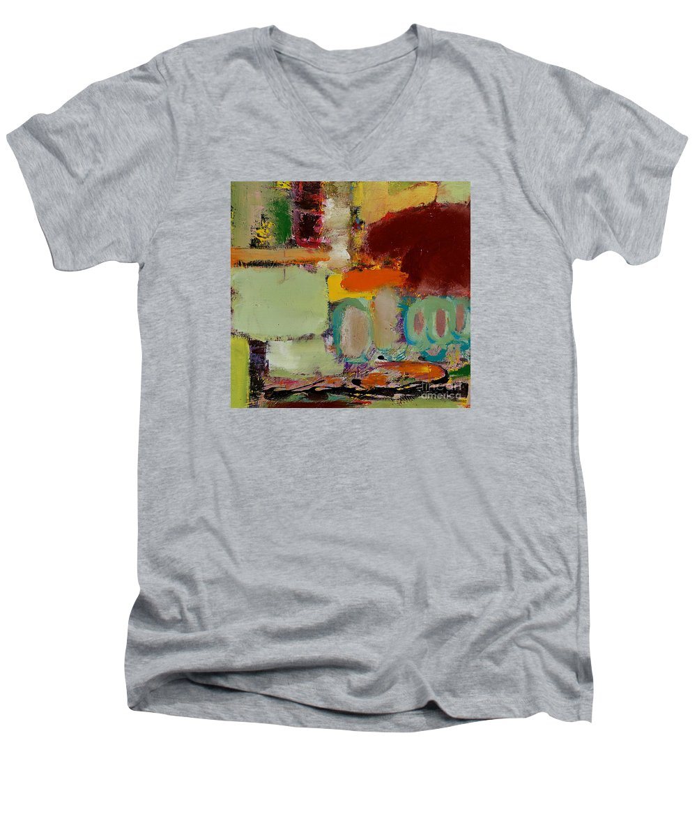 Landscape Men's V-Neck T-Shirt featuring the painting Over There by Allan P Friedlander