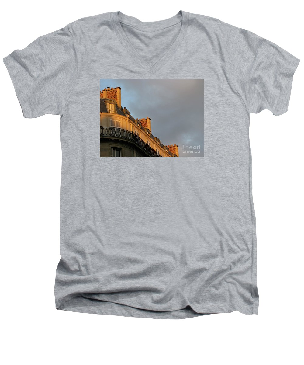 Paris Men's V-Neck T-Shirt featuring the photograph Paris At Sunset by Ann Horn