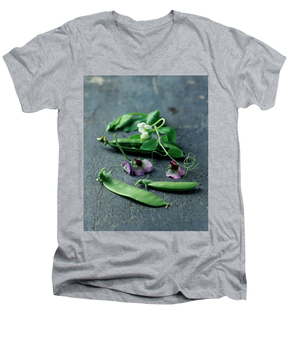 Fruits Men's V-Neck T-Shirt featuring the photograph Pea Pods And Flowers by Romulo Yanes